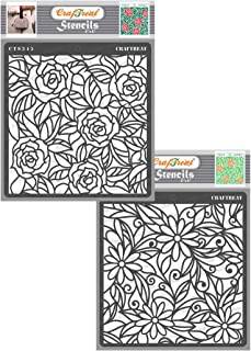 thecraftshop Stencil - Rose & Daisy with Leaf Background (2 pcs) | Reusable Painting Template for Art and Craft, Mixed Med...