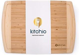 Kitchio 特大竹製まな板 - オーガニック抗菌木製フードトレイ ジュースドリップ溝付き 肉切り 野菜 パンや肉チーズに - 最高のキッチン木製ブッチャーブロック