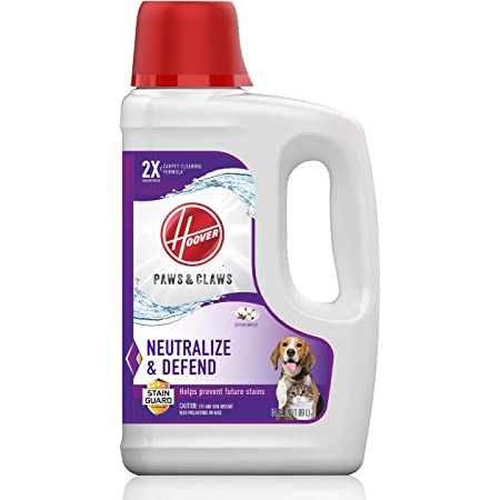 Hoover, White Paws & Claws Deep Cleaning Carpet Shampoo with Stainguard, Concentrated Machine Cleaner Solution for Pets, 64oz Formula, AH30925, 64 oz, 64 Fl Oz