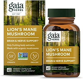 Gaia Herbs, Lion's Mane Mushroom, Organic & Sustainably Sourced, Brain & Nerve Support, No Grain & Rice Fillers, Vegan Her...