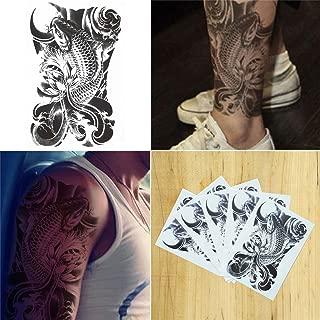 COKOHAPPY 5 Sheets Temporary Tattoo Black Koi Fish for Women Men