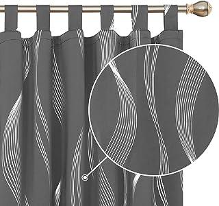 Deconovo Cortinas Salon Modernas Aislantes Térmicas de Líneas Onduladas con Trabillas 2 Piezas 140 x 175 cm Gris Oscuro