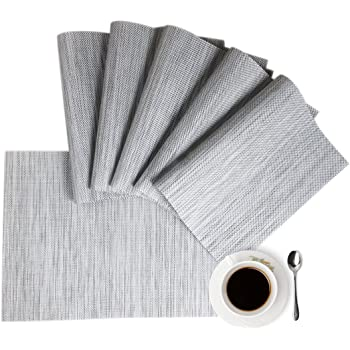 Placemats Place Mat Gray Table Mats Set of 6 Non Slip Easy to Clean Wipeable Crossweave Woven Vinyl Washable Place Mats for Dining Kitchen Restaurant Table