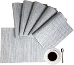 Placemats Table Mats Place mat Set of 6 Non Slip Easy to Clean Wipeable Thanksgiving Christmas Place Mats Kitchen Table Mats for Dining Restaurant Table Indoor Outdoor Holiday Party(Gray)