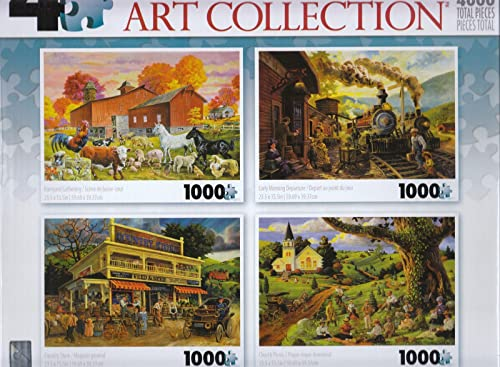 4 1000 Piece Puzzles  Barnyard Gathering, Early Morning Departure, Country Store, Church Picnic