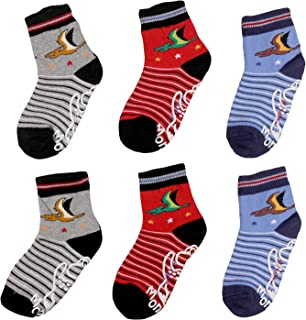 Nonskid socks for boys,kids,toddlers,Anti Slip Slippery Crew Socks with grips