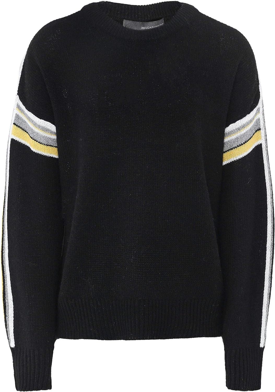 360 Sweater Women's Cashmere Teagan Stripe Sleeve Jumper Black