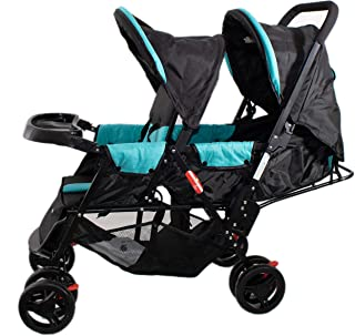 baby plus BP7743 Twin Stroller with Reclining Seat, Blue - Pack of 1, BP7743-BLUE