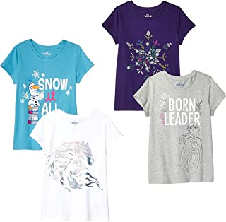 by Disney Frozen - Girls' Toddler & Kids 4-Pack Short-Sleeve T-Shirts