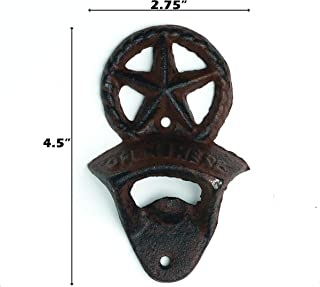 Heavy Cast Iron - Rope Lone Star Bottle Opener - Open HERE On The Front - Wall Hung - Dark Brown Color Finish - Use Indoor Or Outdoor   Texas Decor   2.75 x 4.5 x 1.25-Inches CI164