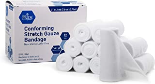 MED PRIDE Conforming Gauze Rolls (3''x 4.1 yd)– Pack of 12 First Aid Rolled Stretch Bandages for Wounds & Injuries – Disposable Nonsterile Body Wrap Dressing for The Knee, Ankle, Hands, Wrist, White