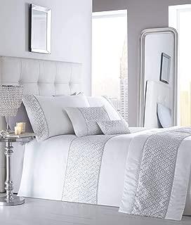 Homespace Direct Simmer Luxury Diamante Trim Duvet Quilt Cover Bedding Set White - UK Super King/US King