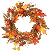 Artiflr 17 Inch Artificial Autumn Fall Wreath, Harvest Thanksgiving Door Wreath for Front Door with Pumpkins, Maple Leaf and Berry