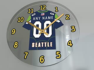 FanPlastic USA American Football Team Wall Clocks - All N F L Colors Available - Personalized - Any Name & Number !!