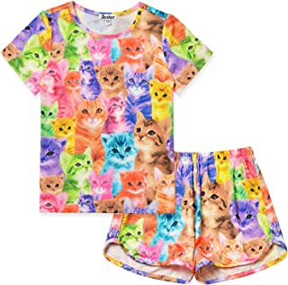 Girls Unicorn Pajamas Kids Cotton Set Sleepwear 2 Piece Long/Short Sleeve