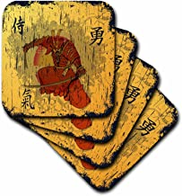3dRose CST_116373_3 Japanese Samurai with Swords Kanji Brave Energy Symbols Oriental Design Ceramic Tile Coasters, Set of 4