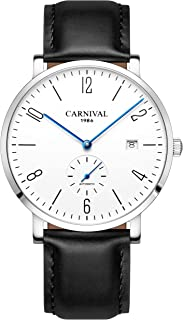 Automatic Mechanical Men Watch Leather Band Simple Dial White