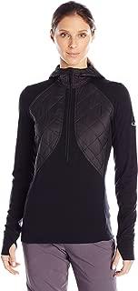 Women's Ellipse Midweight Half Zip Hoodie, New Zealand Merino Wool, Black, SM