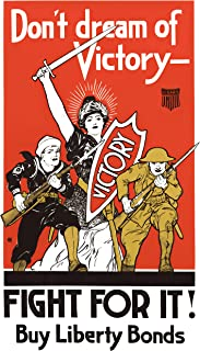 UpCrafts Design WW1 Propaganda Poster - WWI US Liberty Victory Bonds Replica - Military History Memorabilia Decor (8.3x11.7 inches (A4 Size), Brown Wood Framed Poster)