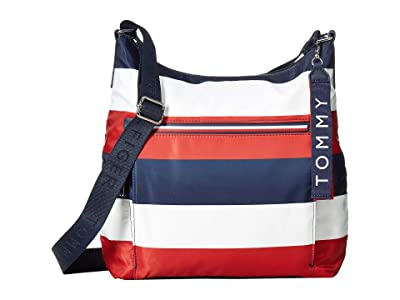 Tommy Hilfiger Lani Hobo Corporate Stripe (Navy/Natural) Handbags