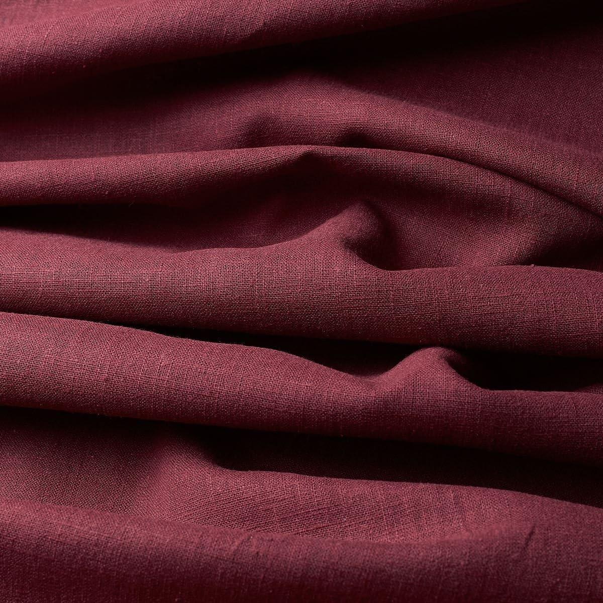 Tela de lino natural - 100% lino puro - Gran textura de lino - 20 colores - Por metro (Borgoña)