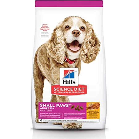 Hill's Science Diet Dry Dog Food, Adult 11+ For Senior Dogs, Small Paws for Small Breeds, Chicken Meal, Barley & Brown Rice Recipe