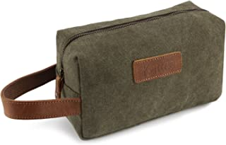 Kattee Canvas Toiletry Bag Cosmetic Makeup Organizer Shaving Dopp Case for Travel (Army Green)