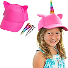 Unicorn Hat for Girls - Kids Baseball Cap with 2 Changeable Unicorn Horns, Silver and Rainbow Unicorn Horns Stick on Pink Hat, Adjustable Size, UV Sun Protection for Toddlers