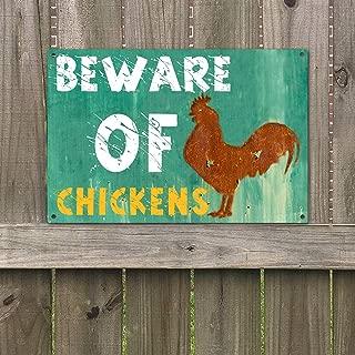 "Agantree Art Beware of Chickens Warning Sign Vintage Retro Metal Plaque Sign 8"" x 12"""