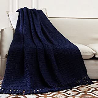 TINA'S HOME Soft Warm Woven Knit Throw Blanket for Sofa Couch Bed Decor (50 x 60 inches, Navy Blue)