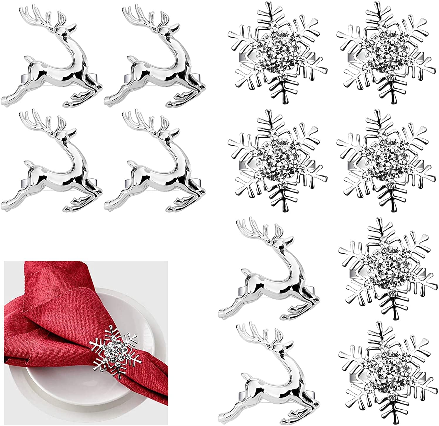 JIAOXIAOHUI Set of Direct stock discount 12 Napkin Rings Ring Elk Large-scale sale an Deer -