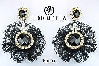 Orecchini in pizzo e cristalli Swarovski Karina fatto a mano Made in Italy - Handmade - Regali donna - Artigianale - idee ...