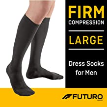 Futuro Dress Socks for Men, Firm Compression, Large, Black, Helps Improve Circulation to Help Minimize Swelling