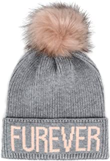 Hatphile Cat Lover Dog Lover Gift Soft Stretchy Furever Faux Fur Pompom Knit Beanie Skully Toque