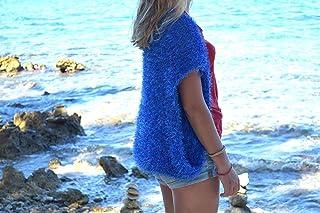 Frauen Strick Bolero Blau stricken Sommer Achselzucken
