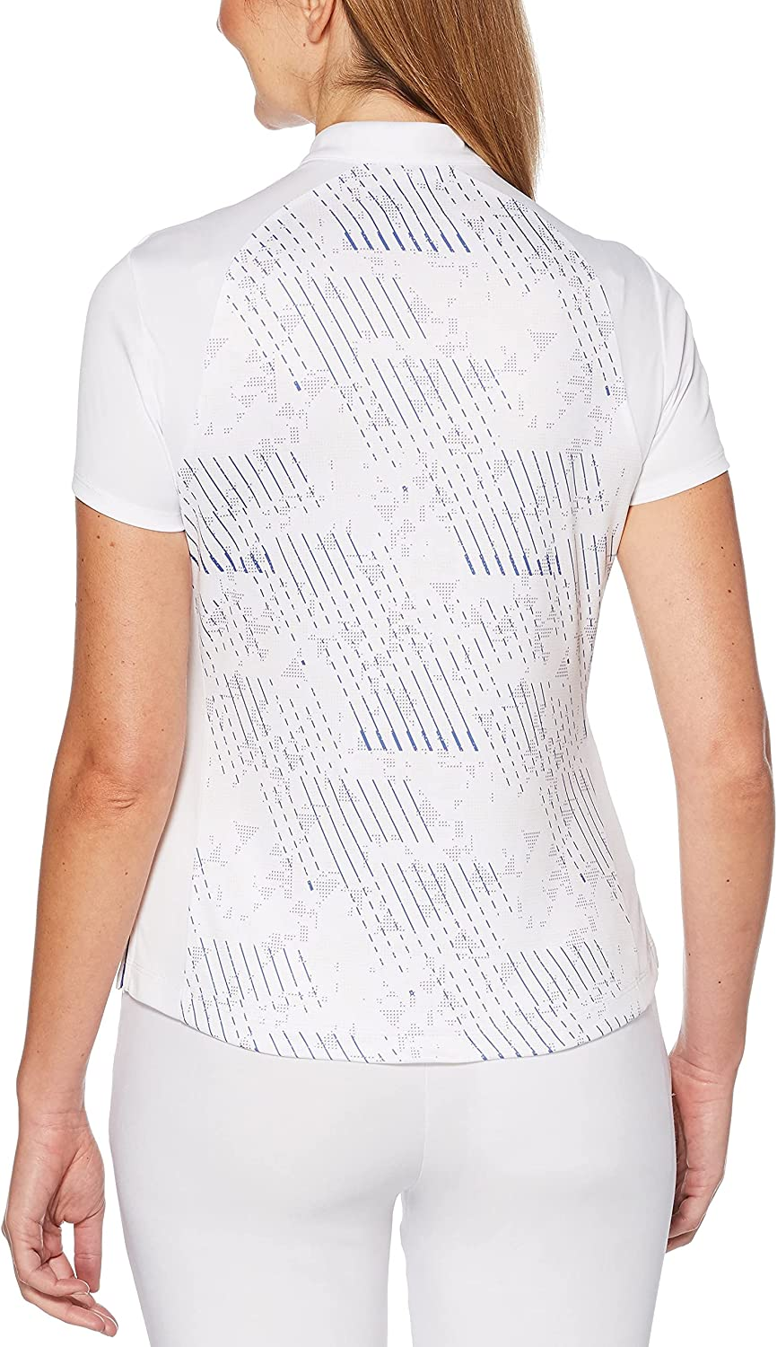 PGA Tour Women's Printed V-Neck online shop Golf White Bright Polo Shirt sold out X-S