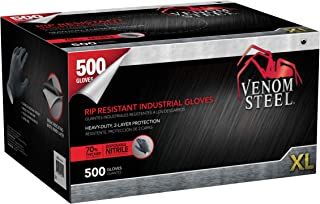Venom Steel Nitrile Gloves, Rip Resistant Disposable Latex Free Black Gloves, 2 Layer Gloves, 6 mil Thick, X-Large (Pack of 500)