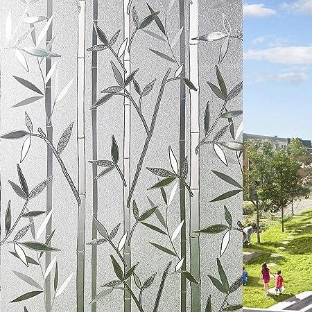 LEMON CLOUD Film Intimité pour Vitre Statique Décoratif Film Adhésif Fenêtre Vitrage Autocollant (Motif Bambou 60 cm × 200 cm)