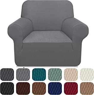 Carltina Stylish Couch Cover Thick Armchair Slipcover for Living Room Chair Covers for Dogs Pets Non Slip Magic Elastic Furniture Protector (Small, Light Gray)
