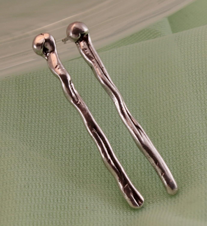 Fashion Long Sterling Silver Post Earrings Drop Handmade OFFer -- 1.5