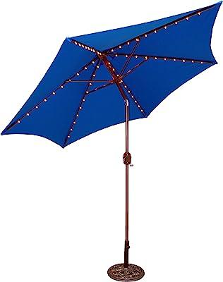 Tropishade Tropilight LED Lighted 9 ft Bronze Aluminum Market Umbrella with Royal Blue Polyester Cover
