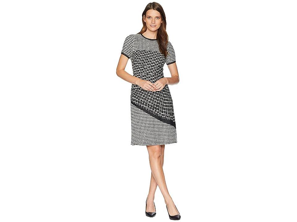 Taylor Mixed Print Short Sleeve Dress (Black/Ivory) Women