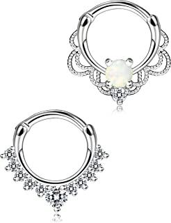 Jstyle 2 Pcs a Set 316L Brass Septum Ring Nose Hoop Piercing Clicker Ring Created-Opal 16G
