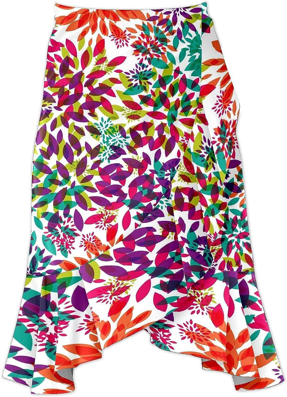 Women's Colourful Flower Leaves Irregular Hem Ruffle High Low Split A Line Midi Wrap Skirt