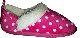 Toddler Girls Pink Polka Dot Aline Loafer Style Slippers House Shoes