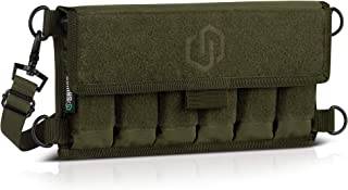 Savior Equipment Tactical Pistol Magazine Storage Pouch w/Hook-N-Loop Cover Panel - Shoulder Strap Included, Reinforced D-Rings, Compatible with Most Single Double Stack Mag Holster, 6 Slots