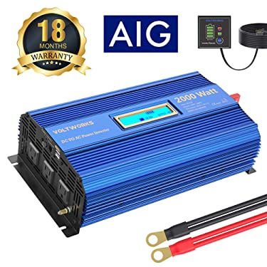 Power Inverter 2000w DC 12V to AC 120V Modified Sine Wave Inverter with 3AC Outlets Dual 2.4A USB Ports Remote Control LCD Display for Car RV Truck Boat
