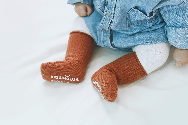 JEIIN Baby Combed Cotton Socks Toddler Ankle Sock Non-Skid for Newborn Infant Childrens