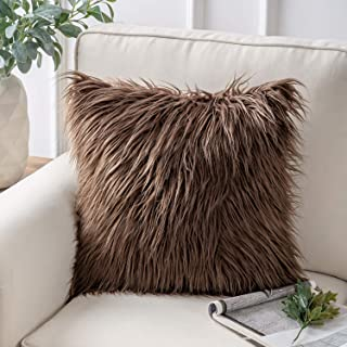 Phantoscope Luxury Series Throw Pillow Covers Faux Fur Mongolian Style Plush Cushion Case for Couch Bed and Chair, Coffee 18 x 18 inches 45 x 45 cm
