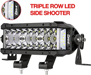 DJI 4X4 LED Light Bar, 7.5 Inch 102W Triple Row Side Shooter CREE LED Pods Off Road Spot Flood Combo Beam Waterproof Driving Fog Lights for Trucks Jeep ATV UTV SUV Pickup Boat, 2 Years Warranty
